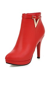 Women's Boots Fall / Winter Bootie / Pointed Toe PU Office & Career / Casual Stiletto Heel Zipper Black / Red Others