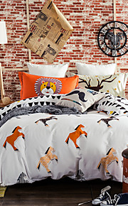 Horses 800TC bedding sets Queen King size Bedlinen printing sheets pillowcases Duvet cover sanding Cotton Fabric