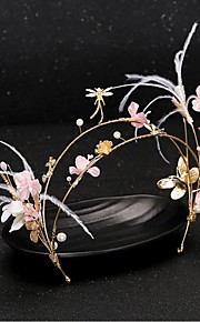 Women's Feather /Crystal / Brass / Imitation Pearl / Fabric Headpiece-Wedding / Special Occasion Headbands 1 Piece