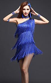 Latin Dance Dresses Women's Performance Chinlon / Milk Fiber Crystals/Rhinestones / Tassel(s) 3 Pieces Dance Costumes