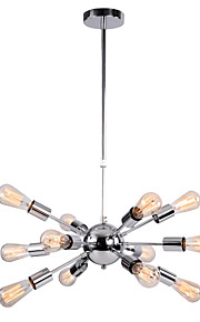 MAX:60W Pendant Light ,  Retro Chrome Feature for Designers Metal Bedroom / Dining Room / Hallway