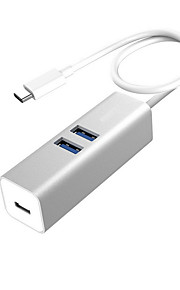 Aluminum Type-C Hub Usb3.0 Usb-C Transfer Switch Hub Macbook Notebook And Other Special Silver