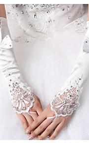До локтя С открытыми пальцами Перчатка Эластичный сатин Свадебные перчатки Весна Банты
