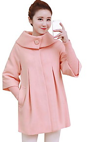Women's Casual/Daily Simple Coat,Solid Peter Pan Collar ¾ Sleeve Winter Blue / Pink / Red / Beige /