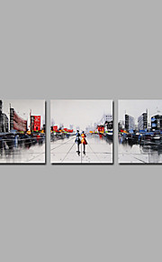 City View Art 3 Pieces Grey Tone Home Decor Artwork Hnadmade Paintings R2H