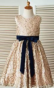 Trapèze Longueur Genou Robe de Demoiselle d'Honneur Fille - Pailleté Sans Manches Bijoux avec Ceinture / Ruban