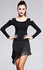 Latin Dance Outfits Women's Performance Rayon / Modal Tassel(s) 2 Piece Black  Long Sleeve Natural Top / Skirt