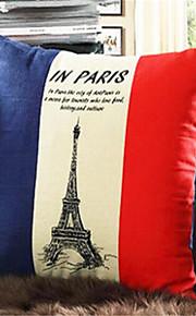1 pcs Coton/Lin Taie d'oreiller,Nouveauté / Tour Eiffel / Imprimés Photos Moderne/Contemporain / Traditionnel/Classique