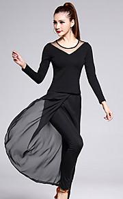 Latin Dance Outfits Women's Training Chiffon / Cotton / Tulle / Milk Fiber 2 Pieces Black Long Sleeve Top / Pant