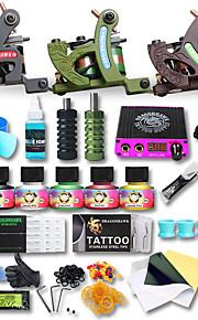 Professional Tattoo Kit 3 Cast Iron Machine Liner & Shader LCD Power Supply 50 Tattoo Needles Tattoo Inks Supplies