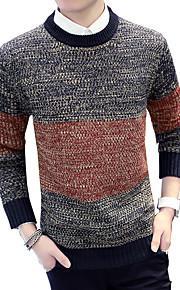 Pullover Uomo Casual / Attività sportive / Taglie forti A strisce / Tinta unita / Collage Cotone Manica lungaBlu / Multicolore /