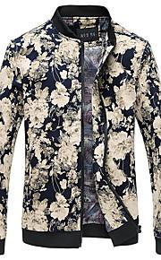 Veste Pour des hommes Manches longues Décontracté / Travail / Sport / Grandes Tailles Coton A Motifs / Fleur Bleu