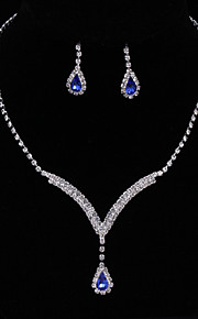 Women's Drop Earrings Choker Necklaces Bridal Jewelry Sets Sapphire AAA Cubic Zirconia Fashion Elegant Jewelry Sets For Wedding Engagement Party