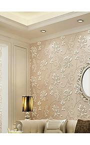 Fleur / 3D Fond d'écran pour la maison Contemporain Revêtement , Tissu Non-Tissé Matériel adhésif requis fond d'écran , Chambre