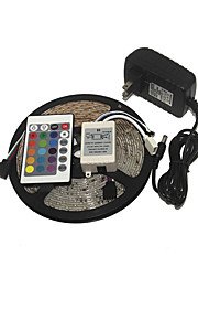 KWB 3528 LED RGB stripe lys 300leds 24key ir fjernkontroll strømforsyning perfekt for alle typer dekorasjon stiler