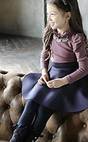 Mädchen Kleid-Lässig/Alltäglich Patchwork Baumwolle Winter / Herbst Lila / Gelb