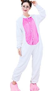 Kigurumi Pyjamas Kanin / Bunny Trikot/Heldraktskostymer Halloween Animal Nattøy Fuksia & Hvit Lapper Fløyel Kigurumi Unisex Halloween