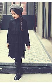 Mädchen Kleid / Anzug & Overall-Ausgehen einfarbig Baumwolle / Polyester Frühling / Herbst Schwarz