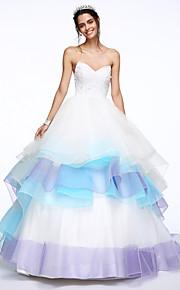 Lanting Bride® Trapèze Robe de Mariage  Traîne Chapelle Coeur Dentelle / Organza avec Perlage / Etagée