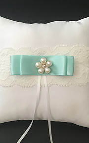 White 1 Ribbons / Bow / Faux Pearl Satin / Lace