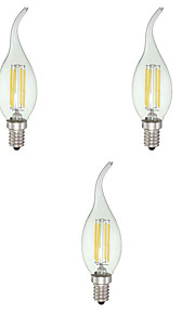 4 E12 LED-lysestakepærer C35 4 COB 380 lm Kjølig hvit Dimbar AC 110-130 V 5 stk.