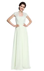 A-linje Kjole til brudens mor Gulvlang Kortermet Chiffon / Blonder  -  Blonder / Belte / bånd / Ruchiing