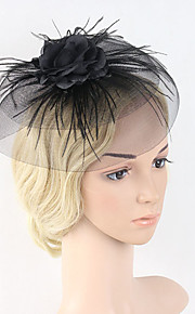 Women's Feather / Net Headpiece-Wedding / Special Occasion Party Western Style Fascinators 1 Piece Black