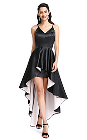 TS Couture® Cocktail Party Dress A-line Spaghetti Straps Asymmetrical Stretch Satin with