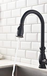 Antik Utdragbar / Pull-down Kärl Utdragbar dusch / Roterbara with  Keramisk Ventil Singel Handtag Ett hål for  Oljeaktig Brons , Kökskran