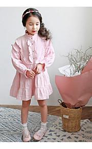 Mädchen Kleid / Anzug & Overall-Ausgehen einfarbig Baumwolle Sommer / Frühling Rosa