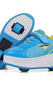 Черный / Синий / Розовый-Унисекс-Для прогулок / Для занятий спортом-Кожа-На низком каблуке-Обувь на роликах-Кеды