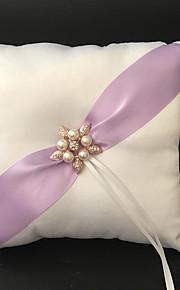 White 1 Ribbons / Faux Pearl Satin