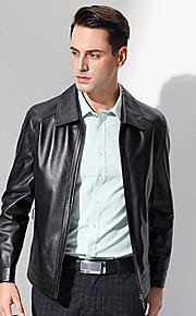 Vestes en Cuir Hommes,Couleur Pleine Décontracté / Quotidien simple Manches Longues Col de Chemise Noir Autres Moyen Automne / Hiver