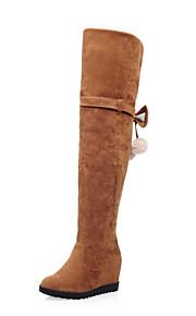 Women's Boots Winter Others PU Dress / Casual Wedge Heel Zipper Black / Yellow / Gray / Beige Others