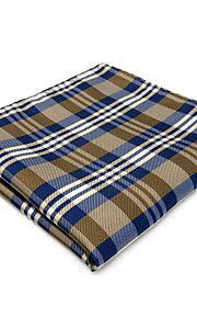 Mens Pocket Square Beige Checked 100% Silk Business For Men Jacquard Woven
