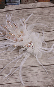 Women's Feather / Rhinestone / Fabric Headpiece-Wedding / Special Occasion / Casual Hair Clip 1 Piece