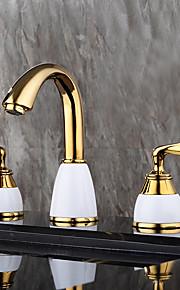 Moderne Udspredt Wide spary with  Keramisk Ventil To Håndtak tre hull for  Ti-PVD , Bathroom sink tappekran