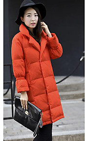 Women's Long Down Coat,Simple Casual/Daily Solid-Polyester White Duck Down Long Sleeve Orange