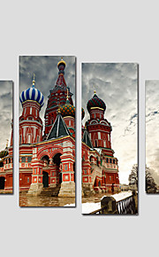 Stretched Canvas Print Landscape European Style,Four Panels Canvas Any Shape Print Wall Decor For Home Decoration