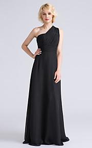 Lanting Bride® Floor-length Chiffon Bridesmaid Dress - Sheath / Column One Shoulder Plus Size / Petite with Side Draping / Ruching
