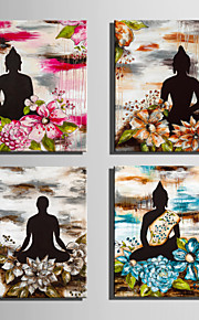 E-HOME Stretched Canvas Art Buddha And Bright Flowers Decoration Painting  Set Of 4