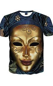 남성 프린트 라운드 넥 짧은 소매 티셔츠,심플 / 보호 / 액티브 데이트 / 비치 / 휴일 블루 폴리에스테르 봄 / 여름 중간