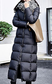 Women's Long Padded Coat,Simple Going out Solid-Cotton Polypropylene Long Sleeve Hooded Black