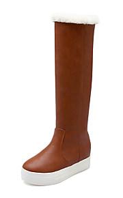 Women's Boots Winter Others PU Outdoor / Dress / Casual Flat Heel Slip-on Black / Brown / Beige
