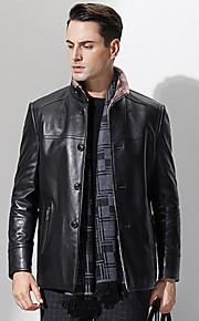 Manteau en Fourrure Hommes,Couleur Pleine Décontracté / Quotidien / Grandes Tailles simple Manches Longues Mao Noir Autres EpaisAutomne /