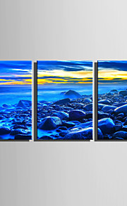 E-HOME Stretched Canvas Art The Blue Coastline Decoration Painting  Set Of 3