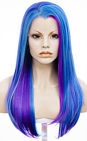 IMSTYLE 24''Fahion Free Parting Mix Purple Straight Synthetic Lace Front Wig Affordable