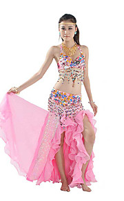 Belly Dance Outfits Performance Cotton / Polyester Beading / Crystals/Rhinestones / Paillettes / Tassel(s) 2 Pieces Top / Belt