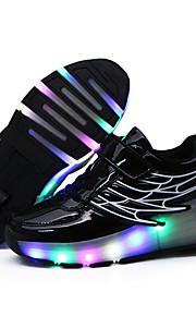 Черный / Розовый / Серебристый / Золотистый-Унисекс-Для прогулок / На каждый день-Синтетика-На плоской подошве-Удобная обувь-Кеды
