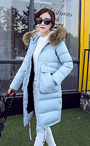 Women's Long Down Coat,Simple Casual/Daily Solid-Polyester White Duck Down Long Sleeve Blue